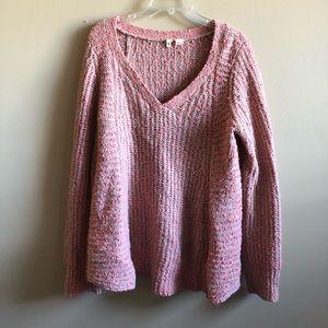 Moth Anthropolie V-Neck Knit Sweater Top Zipper